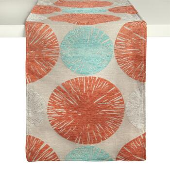 Orange/Teal Bursts Chenille Table Runner
