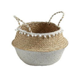 "14.25"" Two-Tone Seagrass Storage Basket with Pom-Poms view 1"