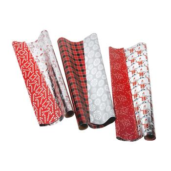 Red/Silver Reversible Wrapping Paper Rolls, Set of 3