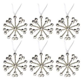 Mirrored Beads Tinsel Snowflake Ornaments, Set of 6