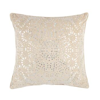 Silver Sequin Embellished Square Throw Pillow