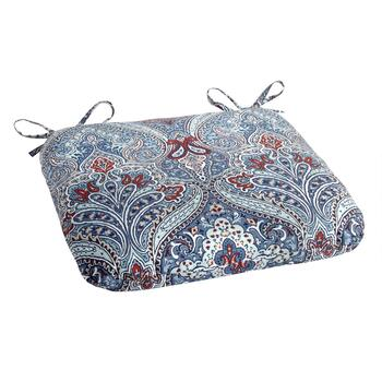 Paisley Blue Indoor/Outdoor Squared Seat Pad