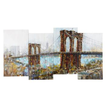 "18""x38"" City Bridge Staggered Canvas Wall Art"