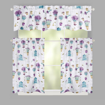 Purple Flowers Microfiber Window Tier & Valance Set view 1