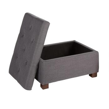 Dark Gray Tufted Pillow Top Storage Ottoman view 2 view 3 view 4