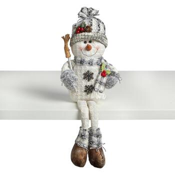 "24"" Dangling Legs Sitting Snowman with Broom"