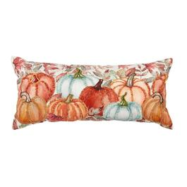 Beaded Colorful Pumpkin Patch Embellished Oblong Throw Pillow