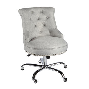 Gray Tufted Upholstery Rolling Office Chair with Nailheads view 1