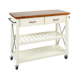 The Grainhouse™ Cream X-Side Rolling Kitchen Cart view 1