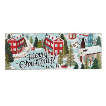 "27"" ""Merry Christmas"" Winter Town Slatted Wood Wall Decor"