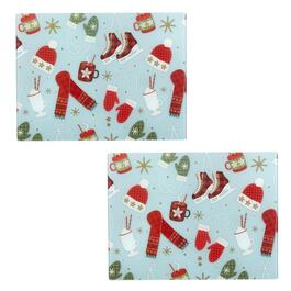 Winter Scarves and Skates Glass Cutting Boards, Set of 2