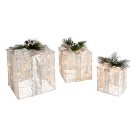 White Gift Boxes with Lights and Ornaments, Set of 3 view 1