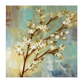 "30"" White Flower Buds Hand-Painted Canvas Wall Art"