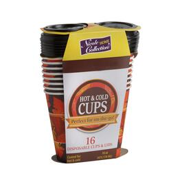 16-Count Hot & Cold Disposable To-Go Cups with Lids, 3-Pack