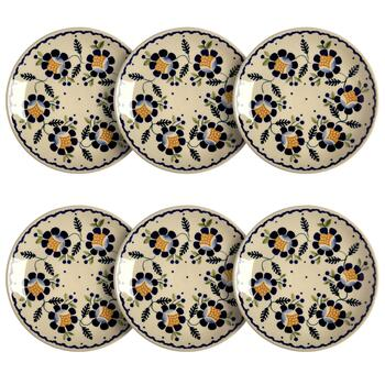 Polish Pottery Orange Blossoms Salad Plates, Set of 6