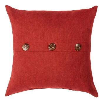 Solid Red Woven Indoor/Outdoor Square Pillow with Buttons