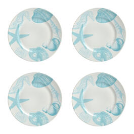 Turquoise Coastal Shells Dinner Plates, Set of 4 view 1