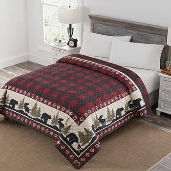 Red Plaid/Bear Border Print Reversible Quilt view 1