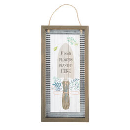 "18.5"" ""Fresh Flowers Planted Here"" Wood Framed Wall Hanger view 1"