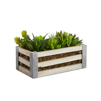 "9"" Artificial Succulent Slatted Wood Planter Box"