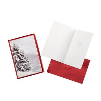 "14-Count ""Believe"" Snowy Tree Holiday Cards, Set of 2"