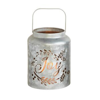 """Joy"" Cutout Metal LED Candle Lantern"