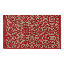Red/Gray Medallion Accent Rug view 1