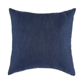 Solid Dark Blue Woven Indoor/Outdoor 3-Button Square Throw Pillow view 2