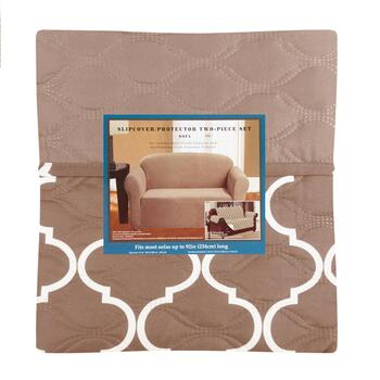 Solid/Pattern Sofa Slipcover & Furniture Protector Set, 2-Piece ...