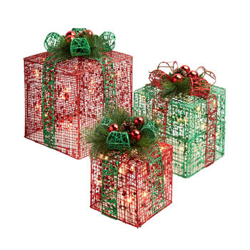 Red/Green Lighted Gift Boxes, Set of 3 view 1