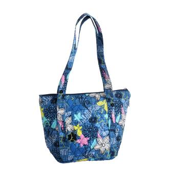 "8""x9"" Blue Floral Quilted Insulated Lunch Tote Bag"