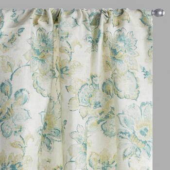 "63"" Green Floral Bianca Window Curtains, Set of 2"