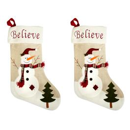 Snowman Stockings With Sherpa Cuff, Set of 2