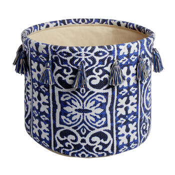 The Grainhouse™ Cotton Damask Print Basket with Tassels view 1