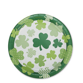 "St. Patrick's Day Clover Fun 9"" Paper Plates 40-Count view 1"