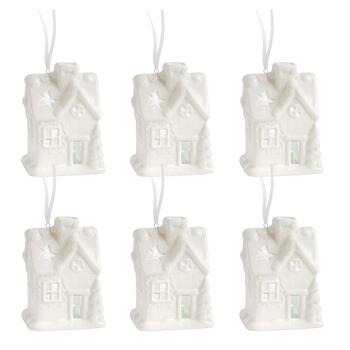 House with Stars LED Ornaments, Set of 6