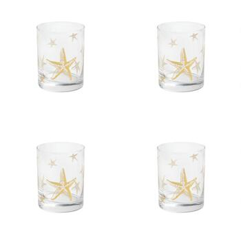 Coastal Living Seascapes™ Gold Starfish Double Old Fashioned Glasses, Set of 4