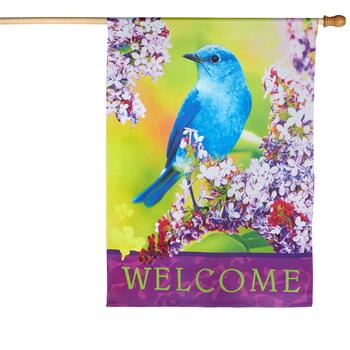 """Welcome"" Blue Bird Yard Flag"