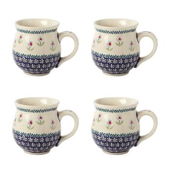 Flower Garden Barrel Mugs, Set of 4
