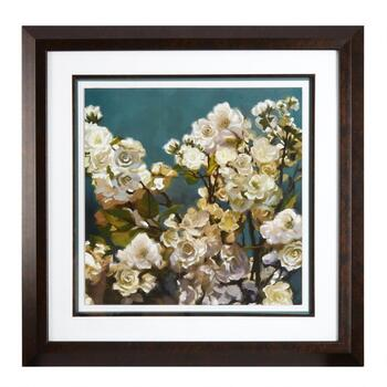 "28"" White Flowers Matted Framed Wall Art"