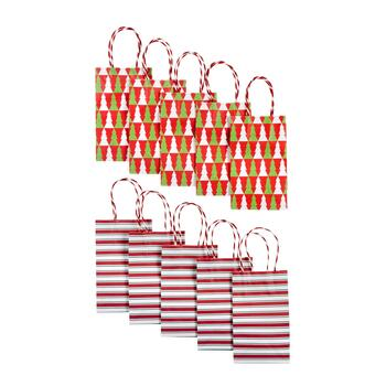 Small Stripes and Trees Kraft Christmas Gift Bags, Set of 40