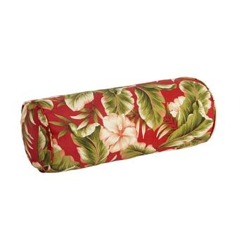 Red Palm Indoor/Outdoor Lumbar Roll Pillow