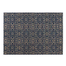 Dark Blue Floral Tile Printed Loop Area Rug view 1