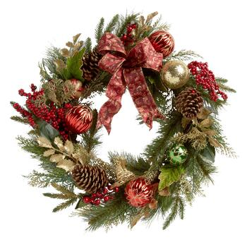 "21"" Christmas Tree Wreath with Burgundy Bow"
