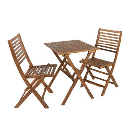 Oxford Acacia Bistro Table and Chairs Set, 3-Piece view 1