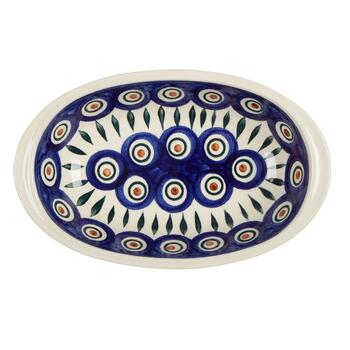 Polish Pottery Peacock Feathers Small Oval Vegetable Bowl view 2