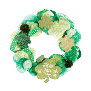 "23"" ""Happy St. Patrick's Day"" Glittered Shamrocks Ribbon Wreath view 1"