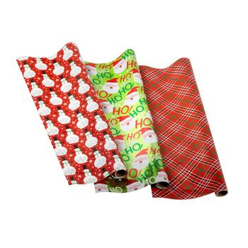Snowman/Santa/Plaid Wrapping Paper Rolls, Set of 3
