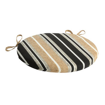 Beige/Black Stripe Indoor/Outdoor Round Bistro Seat Pad view 1