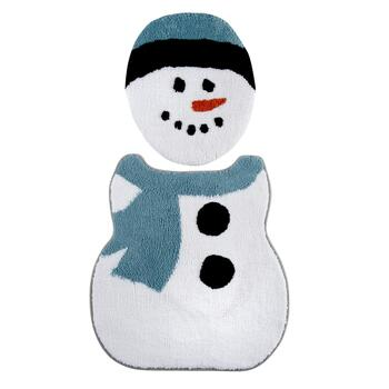 Plush Snowman Toilet Lid Cover and Contour Mat Set, 2-Piece